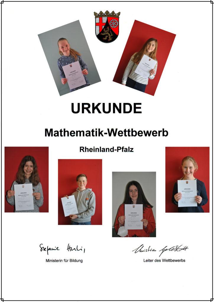 Urkunde - Mathematik-Wettbewerb Rheinland-Pfalz
