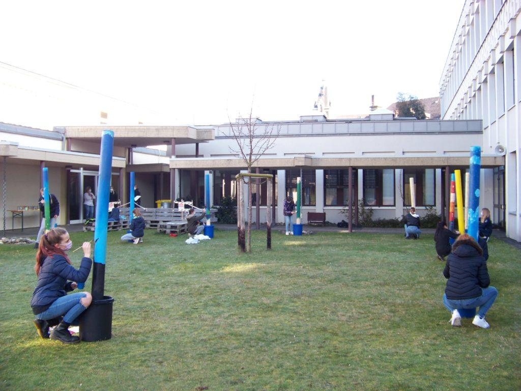 Ein Team des SWR dreht am Calvarienberg - Gymnasium Calvarienberg