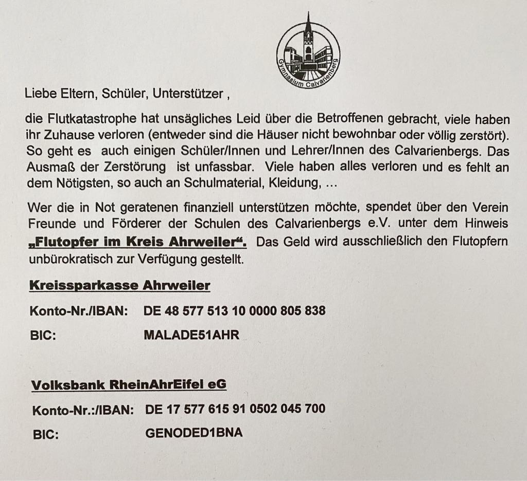 Flutkatastrophe – Wir helfen - Gymnasium Calvarienberg